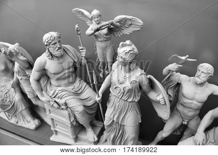 Statues of ancient gods Zeus and Athena.