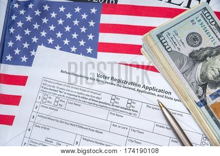 Presidential Election 2016. Registration Form, Flag And Money