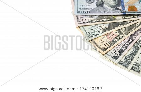 1, 2, 5, 10, 20, 50, 100 Dollars Bills Isolated On White