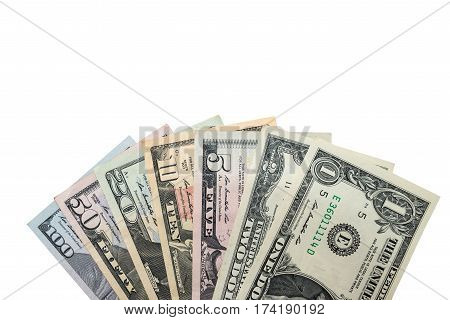 Set Of Dollar Bills. Isolated On White