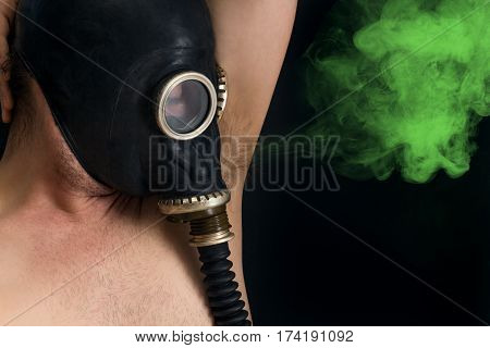 Gasmask protects from smelly armpit body odor wafting into the air