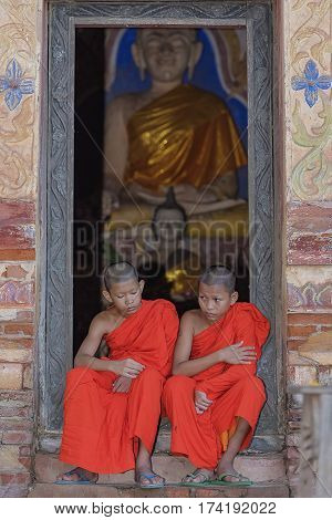 Novice monk studying at the monastery to inherit the teachings of the Buddha.