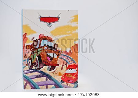 Hai, Ukraine - February 28, 2017: Animated Disney Movies Cartoon Production Book Cars: Mater Adventu