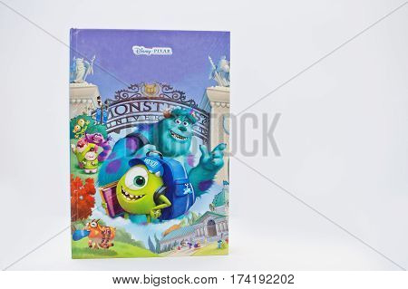 Hai, Ukraine - February 28, 2017: Animated Disney Pixar Movies Cartoon Production Book Monsters, Inc