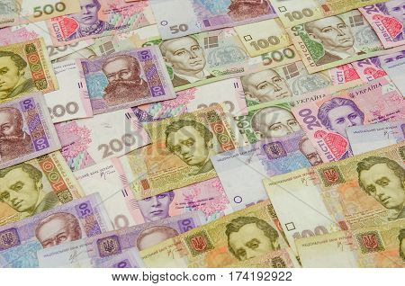 different ukrainian banknotes as background close up