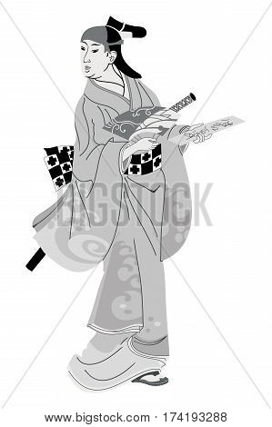 Geisha Japanese woman in national kimono with a sword of the Samurai.