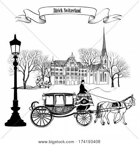 Old street alleyway with buildings park trees street lamp and carriage with horse. Zurich city. Switzerland.