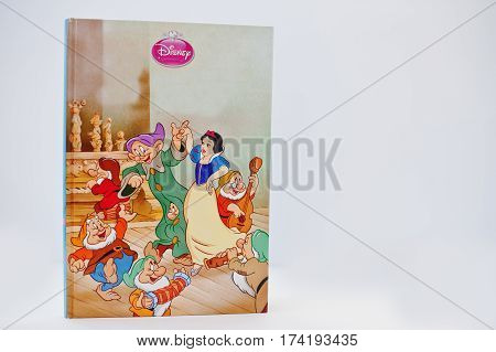 Hai, Ukraine - February 28, 2017: Animated Disney Movies Cartoon Production Book Snow White And The