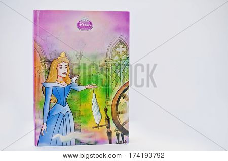 Hai, Ukraine - February 28, 2017: Animated Disney Movies Cartoon Production Book Sleeping Beauty On