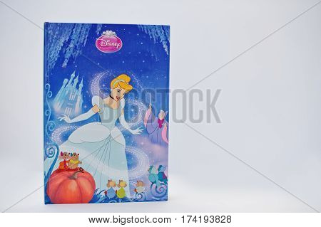 Hai, Ukraine - February 28, 2017: Animated Disney Movies Cartoon Production Book Cinderella On White