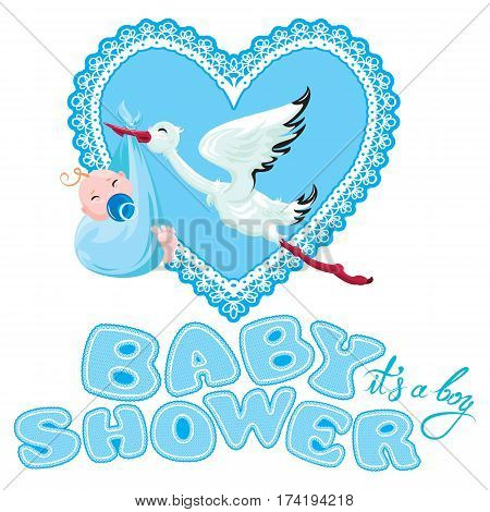 Baby shower card invitation etc. Stork with boy lace blue heart and letters isolated on white background.