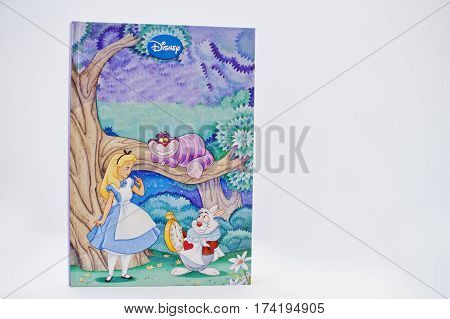 Hai, Ukraine - February 28, 2017: Animated Disney Movies Cartoon Production Book Alice In Wonderland