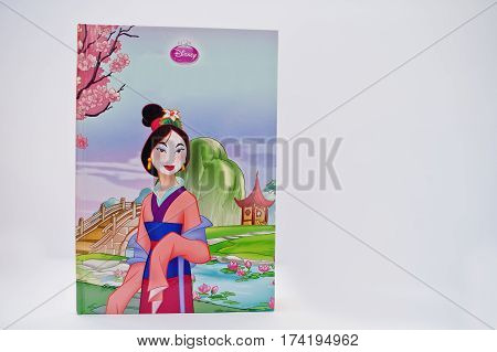 Hai, Ukraine - February 28, 2017: Animated Disney Movies Cartoon Production Book Mulan On White Back