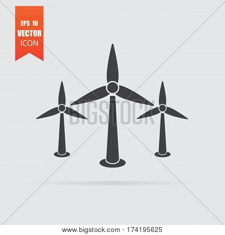 Wind Turbine Icon In Flat Style Isolated On Grey Background.