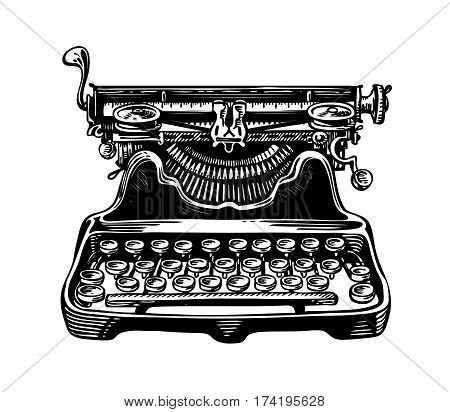 Hand-drawn vintage typewriter, writing machine. Publishing, journalism symbol. Sketch vector illustration isolated on white background