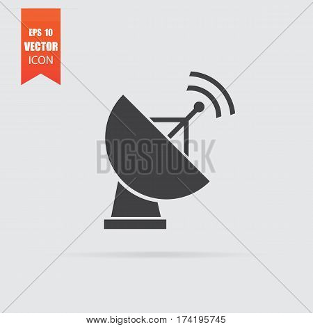 Satellite Antenna Weather Icon In Flat Style Isolated On Grey Background.