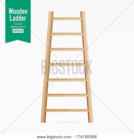 Wooden Ladder Vector. Isolated On White Background. Realistic