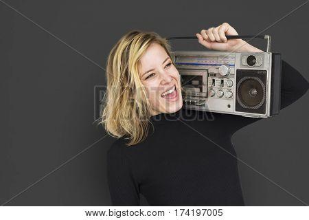 Caucasian Lady Jukebox Music Concept