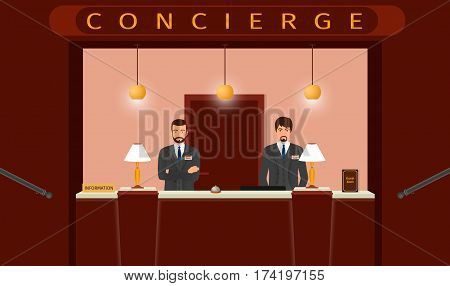 Concierge desk service. Front view of hotel concierge counter with two hotel employee. Flat style vector illustration.