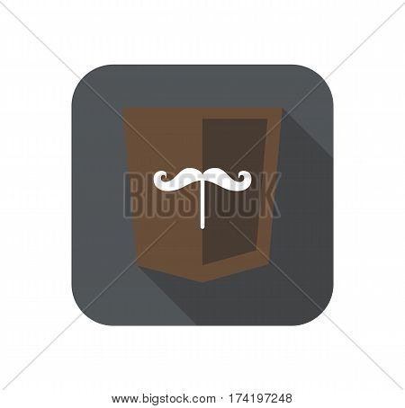 web development shield sign isolated mustache icon on grey badge with long shadow on white background