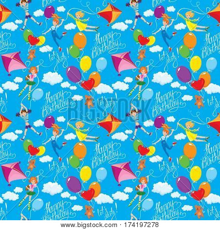Seamless pattern with clouds colorful balloons kite and cute girls with teddy bears on sky blue background. Calligraphic text Happy Birthday let`s party!