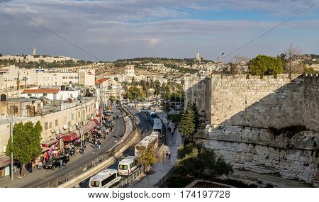 JERUSALEM ISRAEL - DECEMBER 8: View from wall of the Old City Rockefeller Archaeological Museum BYU Center and Augusta Victoria Hospital on Mount Scopus in Jerusalem Israel on December 8 2016