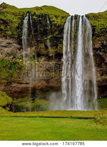Famous great Seljalandsfoss waterfall in Iceland, Europe