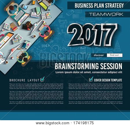 Infograph Brochure template with hand drawn sketches and a lot of infographic design elements and mockups. Ideal forTeamwork ideas, branstorming sessions and generic business plan presentationsl.
