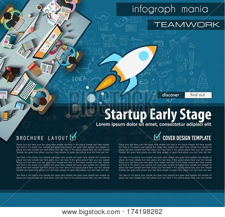 Startup Landing Page Brochure template with hand drawn sketches and a lot of infographic design elements and mockups.Teamwork ideas, branstorming sessions and generic business plan presentationsl.