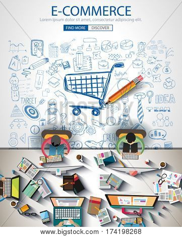 Ecommerce Infograph Brochure template with hand drawn sketches and a lot of infographic design elements and mockups.Teamwork ideas, branstorming sessions and generic business plan presentationsl.