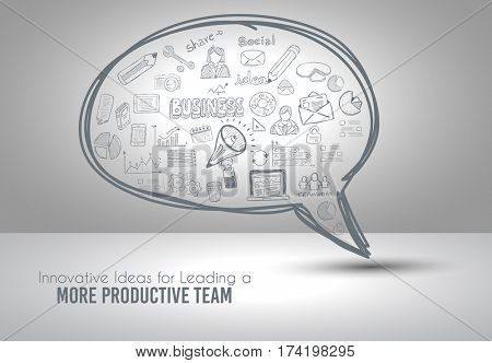 Infograph Bubble Speech template with hand drawn sketches and a lot of infographic design elements and mockups. Ideal forTeamwork ideas, branstorming sessions and generic business plan presentationsl.