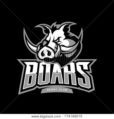 Furious boar sport club vector logo concept isolated on dark background. Web infographic team pictogram design. Premium quality wild animal t-shirt tee print illustration