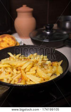 Fried Potatoes In A Pan