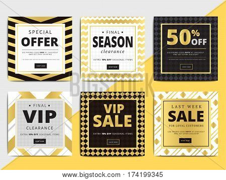 Creative luxury square social media web banners for cell phone or newsletter ad. Email promotion or sale background for online shop store. Promotional offer flyer layout. Vector template design. poster