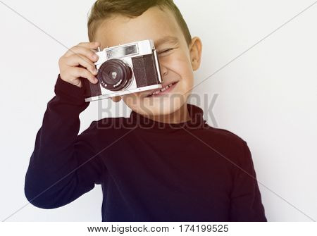 Boy Photographer Camera Hobby Leisure Studio Portrait