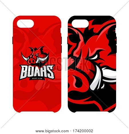 Furious boar sport club vector logo concept smart phone case isolated on white background. Web infographic team pictogram design. Premium quality wild animal artwork cell phone cover illustration