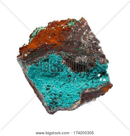 minerals - rosasite on limonite isolated on white background. Geological discovery