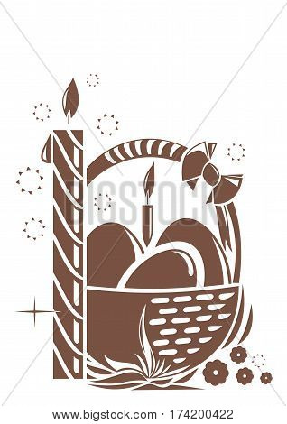 Burning candle and basket with Easter eggs isolated on white background. Symbols of Easter. Design elements for Easter holiday. Easter greeting card. Vector illustration