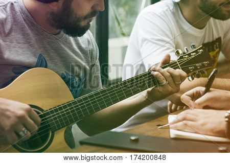 Men Play Guitar Write Song Music Rehearsals