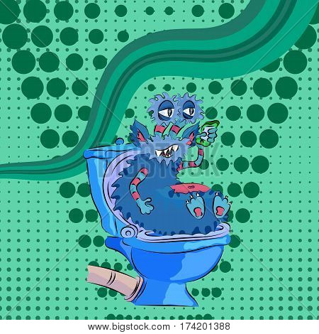 funny monster sitting on the toilet green pop art and talking on the phone