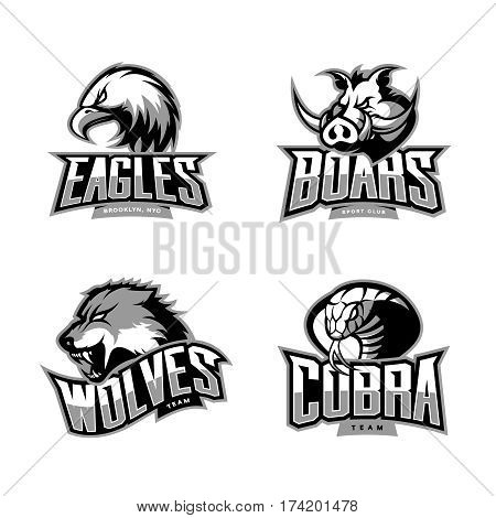 Furious cobra, wolf, eagle and boar sport vector logo concept set isolated on white background.  Professional team pictogram design. Premium quality wild animal, bird and snake t-shirt tee print illustration.