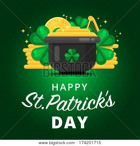 St. Or Saint Patrick's Day Vector Background Design. La Fheile Padraig Holiday Banner Layout. Greeti