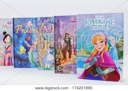 Hai, Ukraine - February 28, 2017: Animated Disney Movies Cartoon Production Book Sets For Girls On W