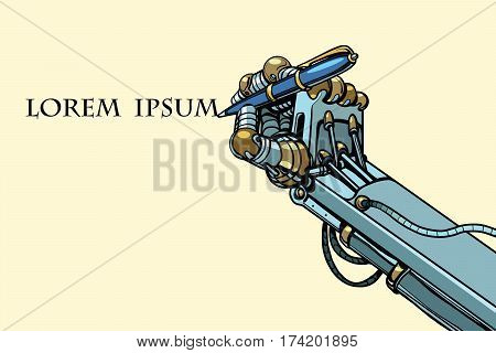 Robot signs a document with a pen. Pop art retro vector illustration