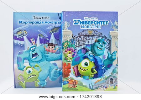 Hai, Ukraine - February 28, 2017: Animated Disney Movies Cartoon Production Book Sets Monsters, Inc