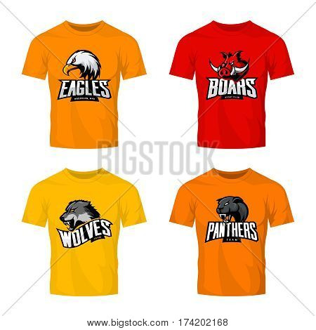 Furious panther, wolf, eagle and boar sport vector logo concept set isolated on color t-shirt mockup.  Modern team pictogram design. Premium quality wild animal and bird head t-shirt tee print illustration.