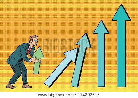 Businessman destroys growth charts sales. Pop art retro vector illustration. A bad worker