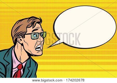 The man in glasses face panic. Pop art retro vector illustration