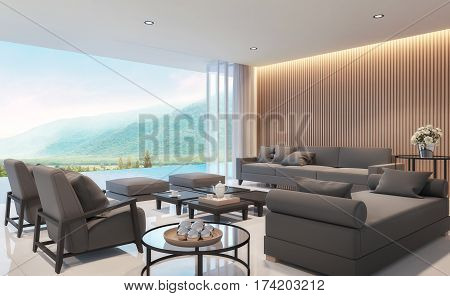 Modern living room with mountain view 3d rendering Image. There are border less swimming pool .There are large open doors overlooking the surrounding nature and mountains