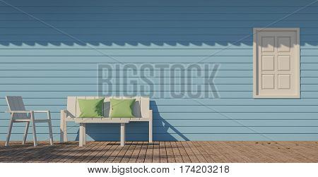 Blue terrace by the sea 3d Rendering Image There is a wooden floor and blue wooden wall. White wood chair and Green Pillow Bright sunshine and the shadows of coconut trees on the floor. Roof shadow on wall